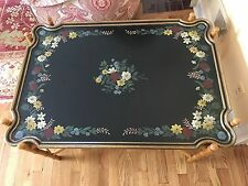 Baker Furniture Hollywood Regency HandPainted Coffee Table with Bamboo Stretcher