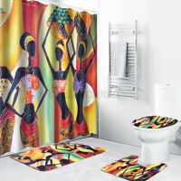 4Pcs Exotic Shower Curtain Set Bath Mat Rug Toilet Lid Cover Bathroom Waterproof