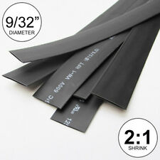 "9/32"" ID Black Heat Shrink Tube 2:1 ratio wrap (14x9"" = 10 ft) inch/feet/to 7mm"