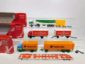 CN289-0, 5 #3x Herpa H0 / 1:87 Truck MB : 811446+ 811544 Hapag +826121 Bp, Mint+