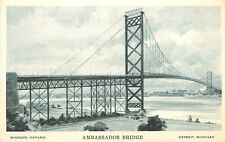 Ambassador Bridge Windsor Ontario Canada Detroit Michigan MI Postcard