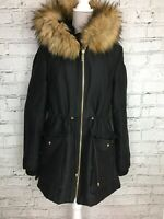 JANE NORMAN Black Long Waterproof Zip Fasten Hooded Winter Coat Size 16