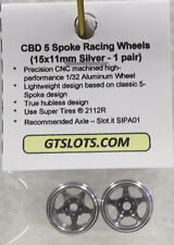 CB DESIGN 0020 5 SPOKE ALUMINUM RACING WHEELS 15mm x 11mm NEW 1/32 SLOT CAR PART