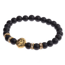 8MM Natural Gemstone Gold Lion Head Women Men's Bracelets Charm Jewelry Gift