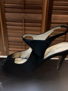 Milana Italy designer black leather suede pump shoe size 36, very good condition