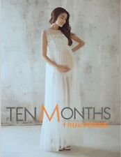 Womens White Photography Props Voile Maternity Gown Dress Studio Clothing New