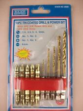 Set 10pc Tin Coated Dill and Power Bits, with plastic holder, Rolson Tools NEW