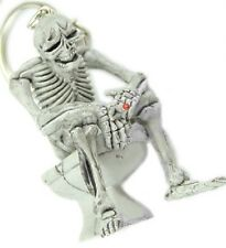 Funny Nolvety Skeleton on a Toliet Rubber Keychain