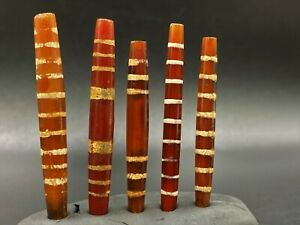 Antique Etch carnelian beads