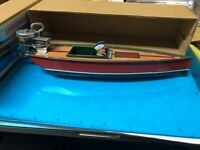 Speedboat Tin Toy Schylling  Windup Lithographed motorboat  Original Box brown