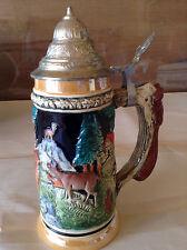 Vintage Beer Stein West Germany Hand Painted Lidded Deer Forest Design