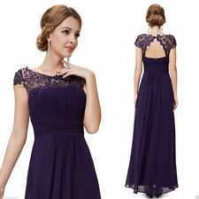 Dress Evening Party Lace UK Long Formal Womens Prom Gown Ball Bridesmaid Ladies 20 Blue Size Chart