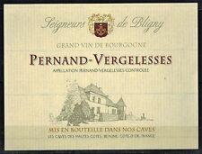 Etiquette Vin de Bourgogne- Pernand Vergelesses-Seigneurs de Bligny- Réf.n°59