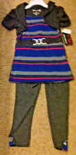 ONE STEP UP Girls Set Shirt Leggings Shrug Charcoal , Blue, Pink Stripes Size 6X