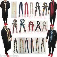 New Women Ladies Super Skinny Dots Stripe Pasiley Solid Thin Tie Belt Neck Scarf