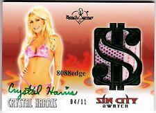 2012 BENCHWARMER VEGAS SIN CITY AUTO: CRYSTAL HARRIS #4/11 WORN SWATCH AUTOGRAPH