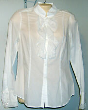INC International Concepts Blouse Size 8 Button Ruffle Front White Long Sleeve