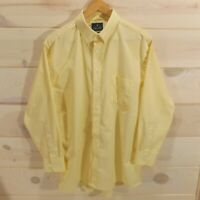 Stafford Men's Size 17 Regular Fit 32-33 Travel Wrinkle Free Oxford Shirt Yellow
