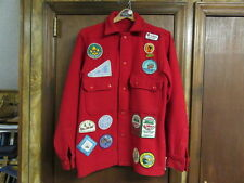 Boy Scout Red Wool Jacket, Camp Mattatuck, Lewiston Trail Council R&W Patchs A73