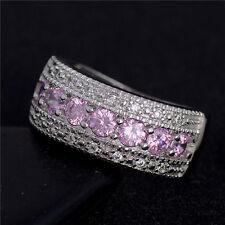 Mujer Anillos De Boda Plateado Rosado Cristal Anillo Ring Tamaño  6 7 8 9