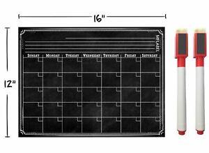 "16"" x 12"" Weekly Dry Erase Magnetic Refrigerator Calendar Message Black Board"