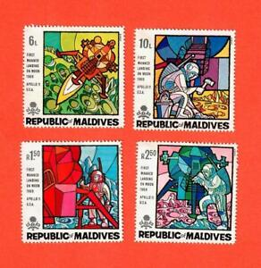 Maldives Sc# 298-301 1969 First Man On The Moon Apollo 11 Set of 4 Unused NH OG