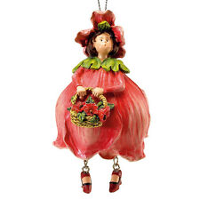 Blumenmädchen Fee Deko Figur Elfe Mohnblume hängend