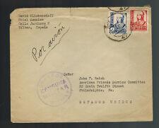 1938 Bilbao Spain Civil War Censored Cover to AFSC USA Philadelphia