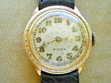 ROLEX 18K 1929 PRIMA WATCH, SUPER-RARE WHITE GOLD BEZEL, FLEUR DE LIS HANDS, BOX