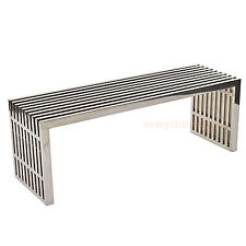 "MODERN STAINLESS STEEL SLAT MEDIUM 47"" BENCH SEAT COFFEE TABLE INDOORS OR OUT"