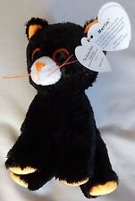 """Merlin The Black Cat - Ty RETIRED Halloween Beanie Baby 6"""" - NEW with MINT Tags"""