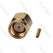 """RP-SMA Solder male female pin straight connector for .141"""" cable RG402"""