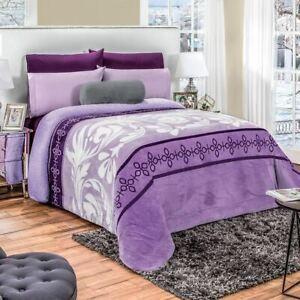 Purple flower Comforter Luxury Bedding Blanket with sherpa ultra soft KING/QUEEN