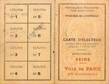 """PARIS 18° """" CARTE D' ELECTEUR / VOTER' S CARD """" 1946"""
