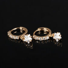 Wedding By Hanging Star CZ Yellow Gold GP Jewelry Huggie Lever back Earrings
