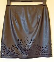 M&S black leather look pencil mini skirt Size UK 8 NEW