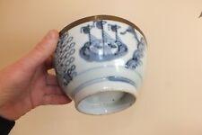+ Ancien grand bol chinois - blanc bleu - décor bateaux - chinese bowl +