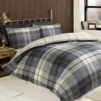 HARRIS PLAID CHECK BLUE WHITE DOUBLE COTTON BLEND REVERSIBLE DUVET COVER