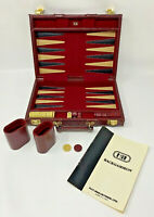 HIT Backgammon Set Travel Burgundy Maroon Vintage Complete Game Manual 19-2101