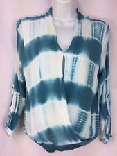 KORI America Blouse Top M Blue-Green Tie Dye Pattern Faux Wrap Long Sleeves