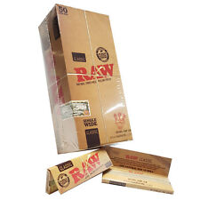 50 RAW CLASSIC SINGLE WIDE 70mm Natural Unrefined Rolling Papers VEGAN FULL BOX