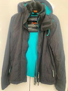 Womens Black/Blue Superdry windcheater jacket (medium). Really Good Condition