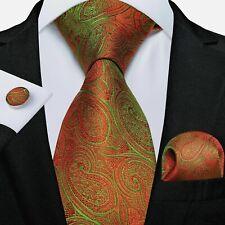 ITALIAN DESIGNER Burnt Orange/Lime PAISLEY SILK TIE, HANKY & CUFFLINKS