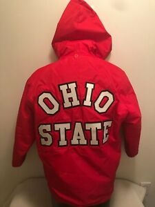 Vtg Ohio State University Buckeyes Band Champion Hooded Jacket Coat Mens Small