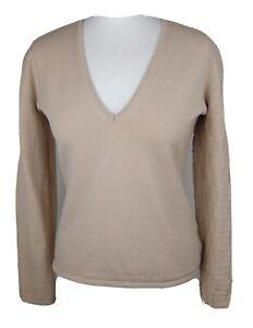 Bally Women's Beige Virgin Wool Blend V Neck B Jumper Size UK 12 - VTG