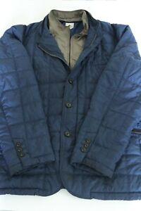 Peter Millar Quilted Full Double Zipper Puffer Jacket Mens XXL 2XL Car Coat Blue