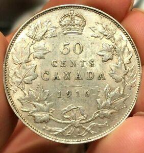 1916 Canada Silver 50 Cents AU-UNC