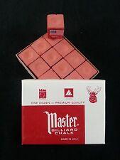 1 BOX ( 12 PIECES ) NEW RUST MASTER CHALK PACK  - POOL & BILLIARD CUE CHALK