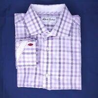 Robert Graham Button Up Shirt Men's Plaid Abstract Flip Cuff Sz 39-15.5 US Sz L