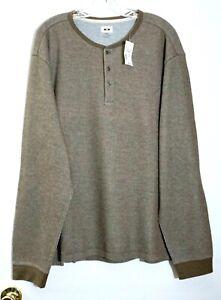 NWT $79 Joseph Abboud Heritage Men's Brown Long Sleeve Henley Shirt, 2XL XXL